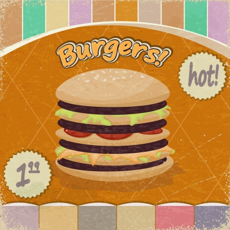 Vintage background with the image of  big hamburger. Vector