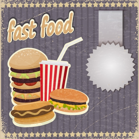 Vintage background with the image of fast food. Vector