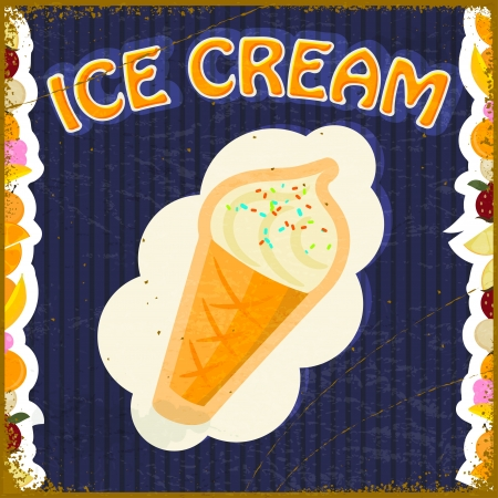 Vintage background with the image of ice cream and fruit Vector