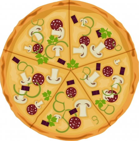 Pizza on a white background. Isolate. Vector