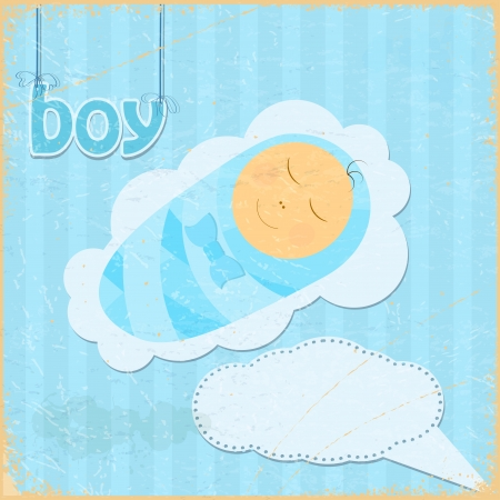 Vintage grunge background with the image of a little boy Stock Vector - 17453229