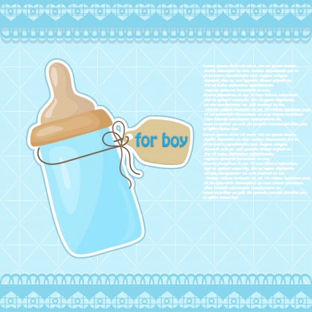 Vintage blue patterned bottle of milk for the boy Vector