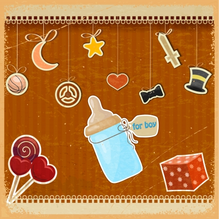 Vintage background with babys bottle of milk and toys Vector