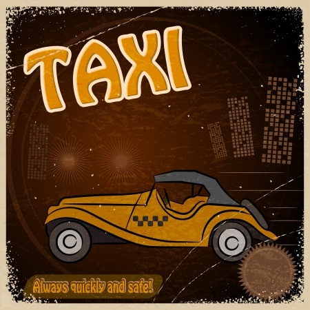 Vintage Postcard - Invitation to the trip - the image taxis Stock Vector - 17453235