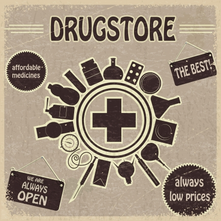 Vintage sign for the drugstores Stock Vector - 17657743