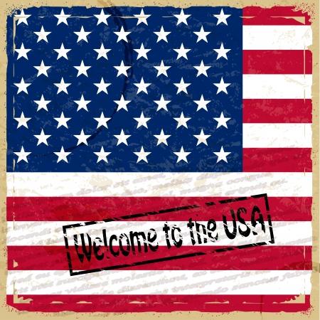 Vintage background with U.S. flag