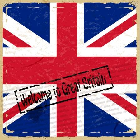 영국의 국기와 함께 빈티지 배경