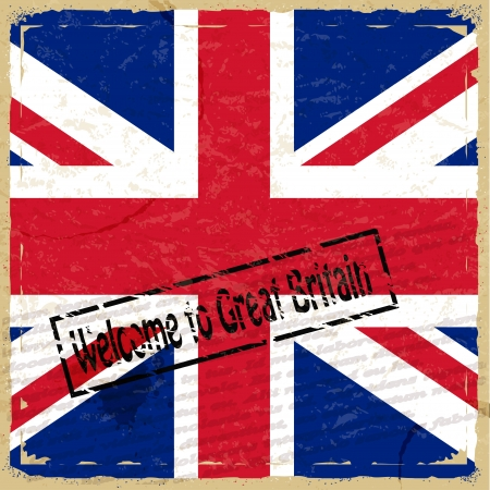 arts culture and entertainment: Vintage background with flag of Great Britain
