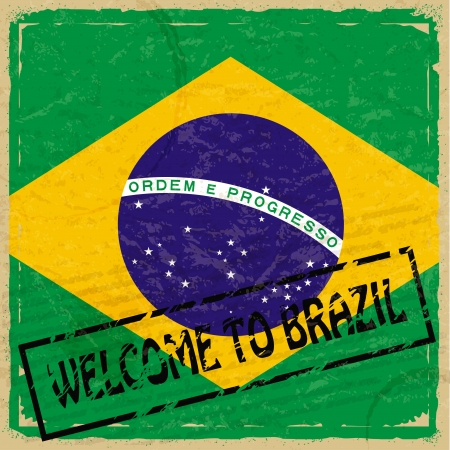 Vintage background with flag of Brazil Stock Vector - 17537043
