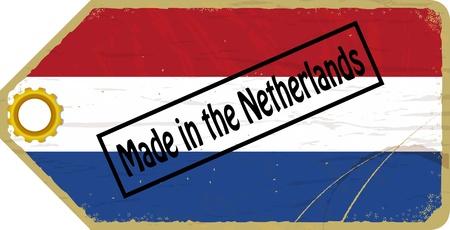 made in netherlands: Vintage label with the flag of Netherlands
