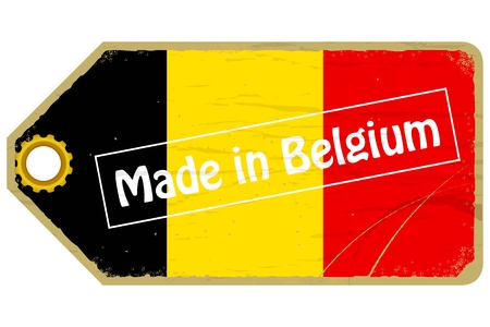 made in belgium: Vintage label with the flag of  Belgium