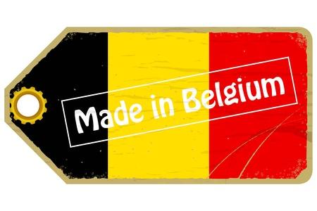 belgium: Vintage label with the flag of  Belgium
