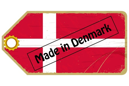 Vintage label with the flag of  Denmark Stock Vector - 17537039