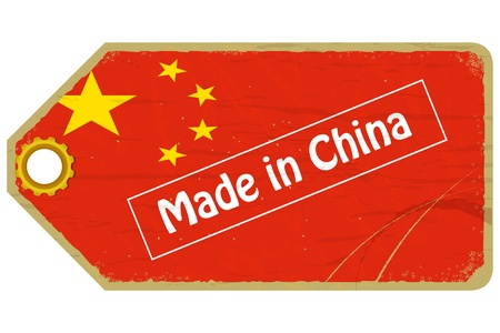 Vintage label with the flag of  China