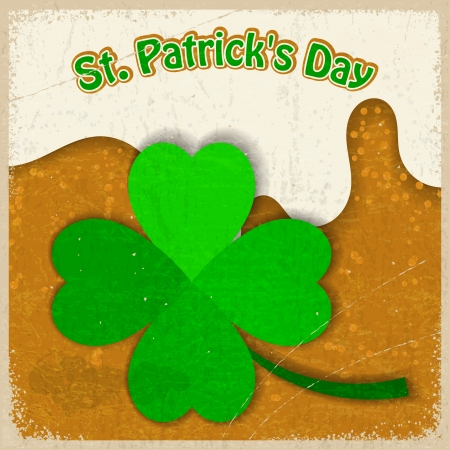 Vintage background with the image of clover St  Patrick s Day Vector