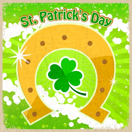 patrick's:  Vintage background with the image of clover St  Patrick s Day and horseshoe Illustration