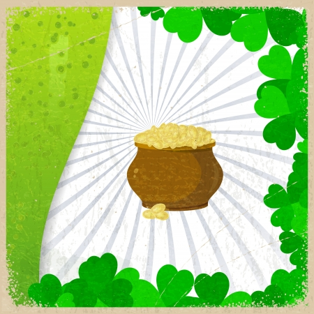 Vintage background with the image leaf clovers and pots of gold coins - a symbol of St  Patrick s Day Vector