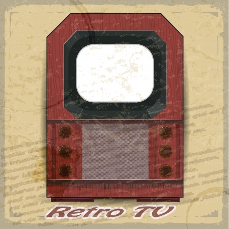 Retro TV on a vintage background Stock Vector - 17537074
