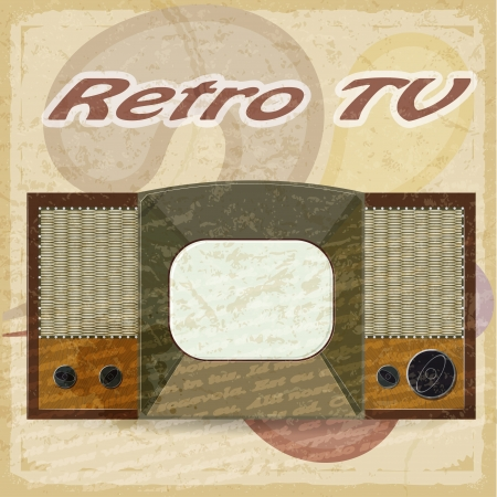 Old television on a vintage backgroundTV on a vintage background Stock Vector - 17537071