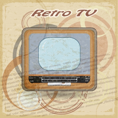 Outdated TV on vintage background Stock Vector - 17537066