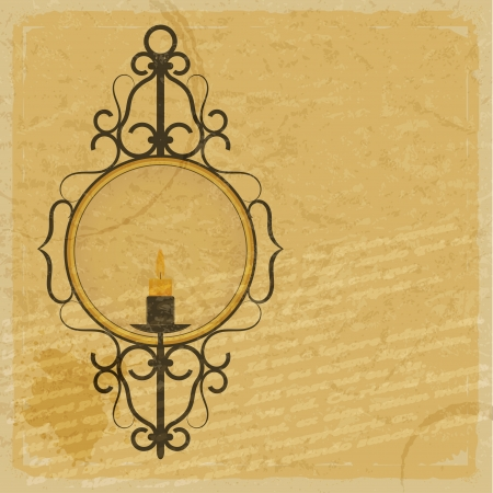 Vintage paper background with the image of a candle in an old candlestick Vector