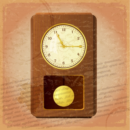 Vintage clock on a grungy background Stock Vector - 17537050