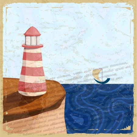 Vintage postcard with a lighthouse and a small boat. Vector