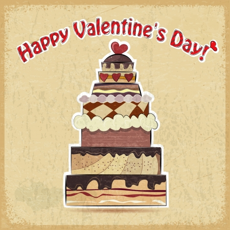 Vintage postcard showing big cake for Valentine's Day Stock Vector - 17537073