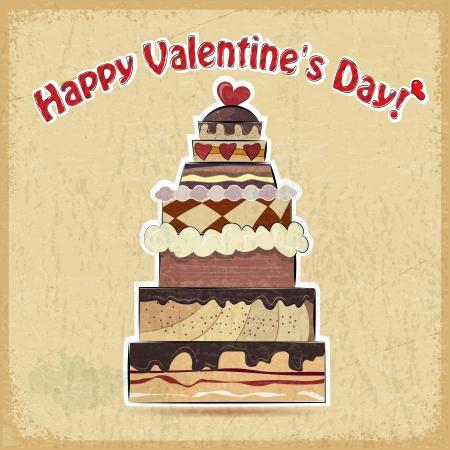 Vintage postcard showing big cake for Valentine's Day Stock Vector - 17537073