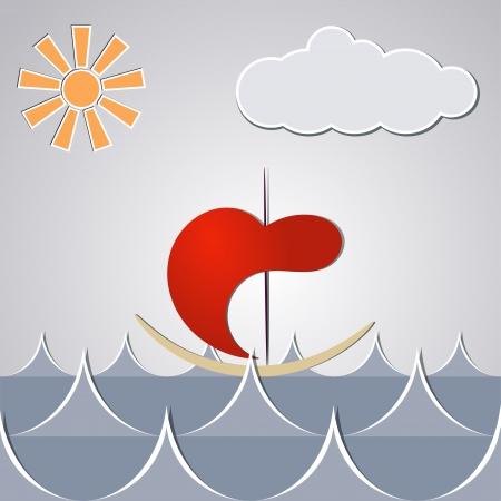 Cartoon drawing little ship through the waves. Stock Vector - 17537047