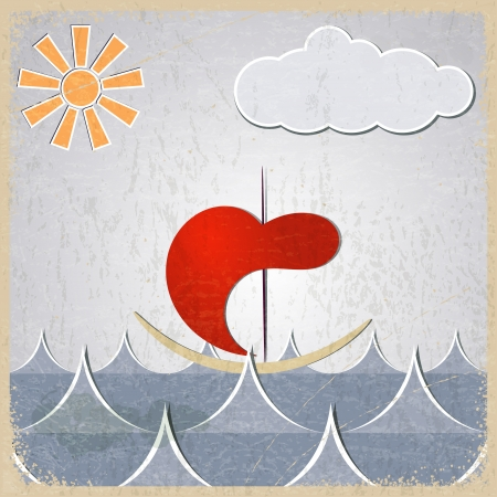 Vintage background with the image of the little sea-boat through the waves with the sun and cloud Stock Vector - 17537052
