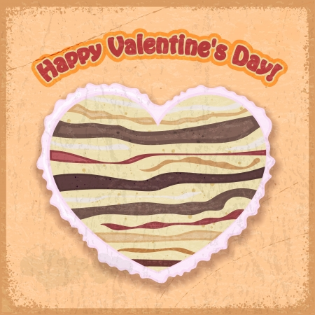 Vintage card with the image of a cake in a heart-shaped Valentine s Day Stock Vector - 17657746