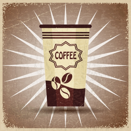 Plastic cup of coffee on a vintage background Stock Vector - 17657770