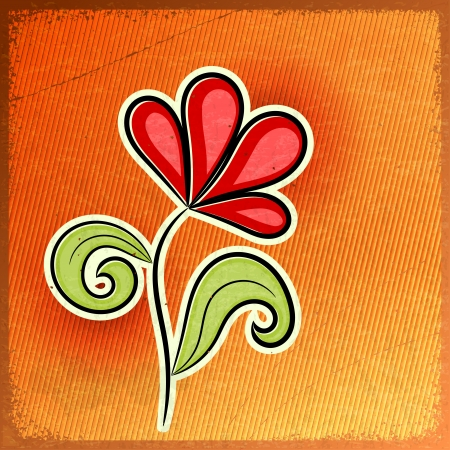 Red abstract flower - a symbol of spring - on vintage background Stock Vector - 17657774