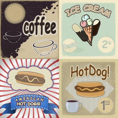 Set of vintage cards with the image of fast food Vector