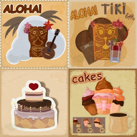 Set of vintage cards - invitations - with food and Hawaiian masks Stock Vector - 17657763
