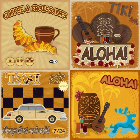Set of vintage cards - invitations - with masks, food and taxis Vector
