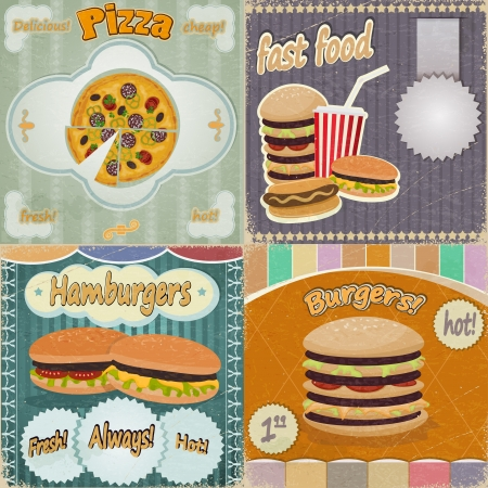 Set of vintage cards - fast food ads - with the image food Vector