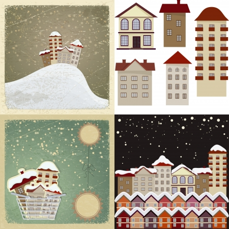 Set of vintage cards with the images of houses  Stock Vector - 17657758