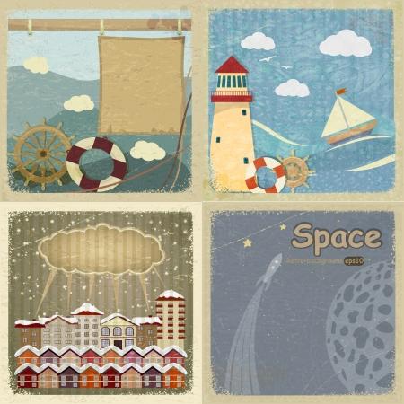 old moon: Set of vintage postcards