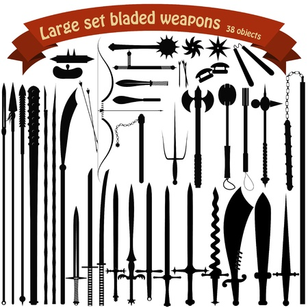 spear: A large set bladed weapons Illustration