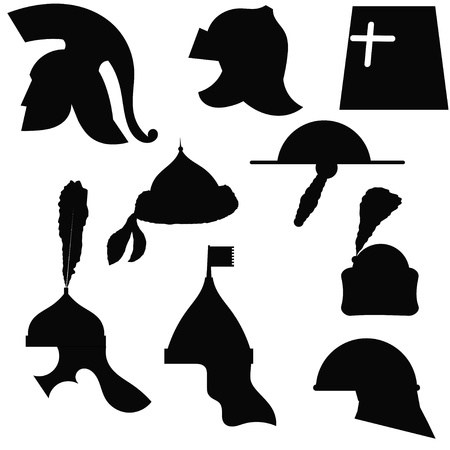 sparta: A set of silhouettes of medieval military helmets Illustration