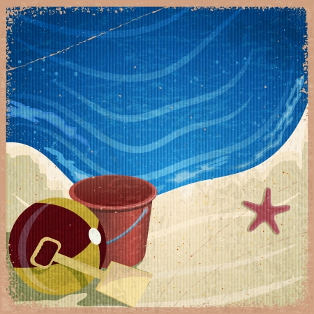 Childrens toys on the background of the sea shore - a bucket, shovel, ball - vintage card Vector