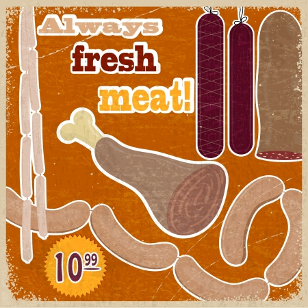 Vintage card with a picture of meat products Stock Vector - 17900200