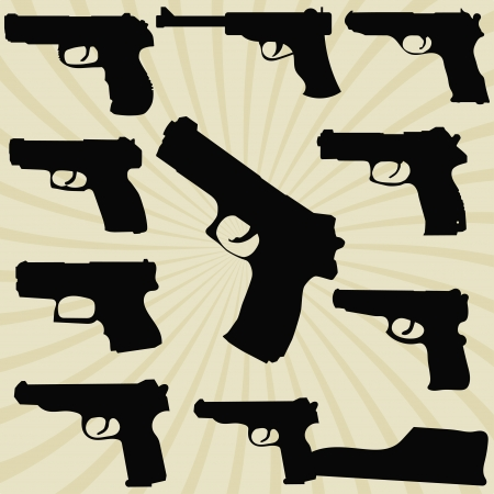 A set of silhouettes of pistols Stock Vector - 17900164