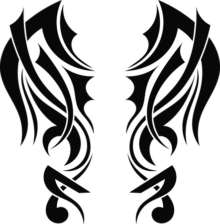 Graphic design Tribal tattoo wings Stock Vector - 17900169