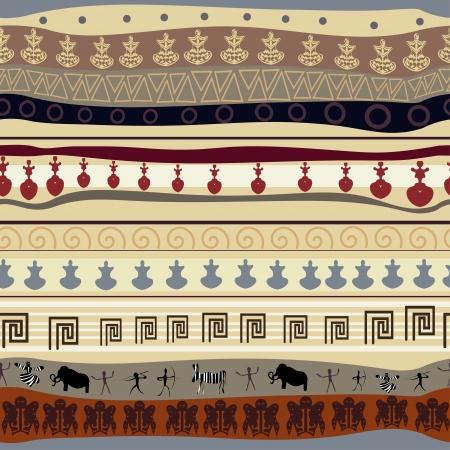 black mammoth: Seamless tribal texture  Illustration
