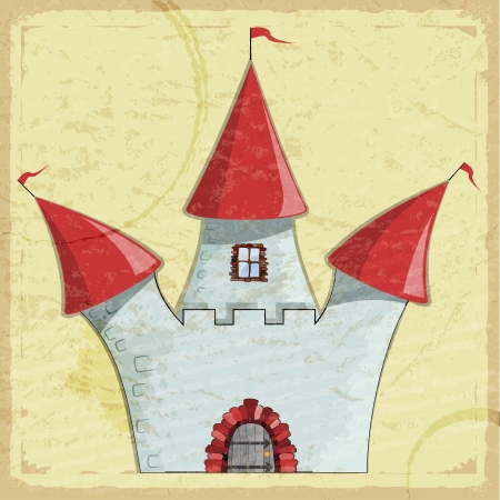 Vintage card with a picture of an old Cartoon castle  Stock Vector - 17900176