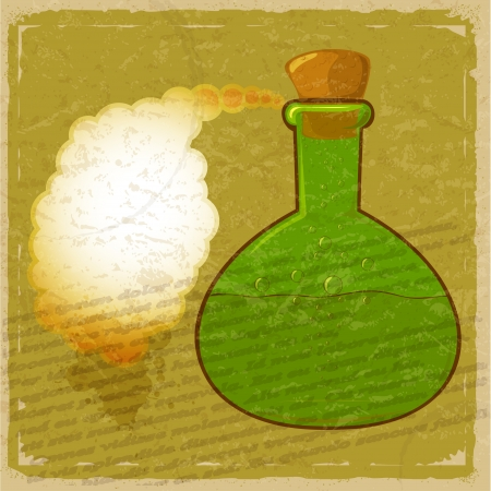 Vintage card with a picture green bottle of poison Stock Vector - 17900207