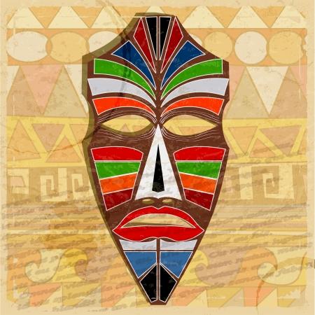 ビンテージ背景に民族のマスク  イラスト・ベクター素材